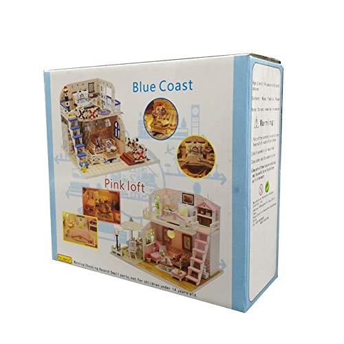 BRICOLAJE Mueble de muñeca Miniatura Muebles de madera, BRICOLAJE kit de la casa de muñecas Modelo japonés de patio grande con DIRIGIÓ y música de caja de música, regalos de cumpleaños de Navidad para