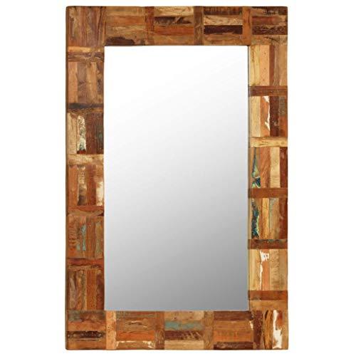 Festnight- Wandspiegel Wohnzimmer | Spiegel mit Rahmen | Badspiegel | Schlafzimmer Spiegel | Spiegel Flur | Recyceltes Massivholz 60 x 60/90 / 120 cm