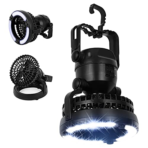 BTY Camping Light Fan, 2-in-1 Portable Hanging Camping Fan with LED Light Camping Lantern with Ceiling Light for Tent, Hiking, Hurricane Emergency