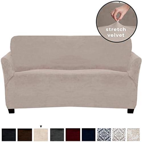Best Velvet Plush Stretch Sofa Slipcover. Velvet Sofa Couch Furniture Protector, Soft Anti-Slip, High Str