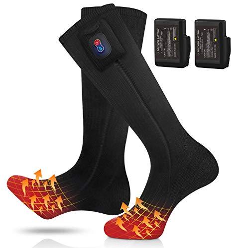 RTDEP Heated Socks, 7.4V Electric Heated Socks, Heated Socks for Men Women, 2 Battery Heated Socks with Rechargeable, 3 Heat Settings Heating Socks, Winter Warm Cotton Socks for Outdoor (Black)