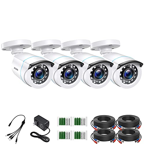 ZOSI 4 Pack 2MP 1080p HD-TVI Home Security Camera Outdoor Indoor 1920TVL,24PCS LEDs,80ft Night Vision, 90°View Angle, Weatherproof Outside Surveillance CCTV Bullet Camera