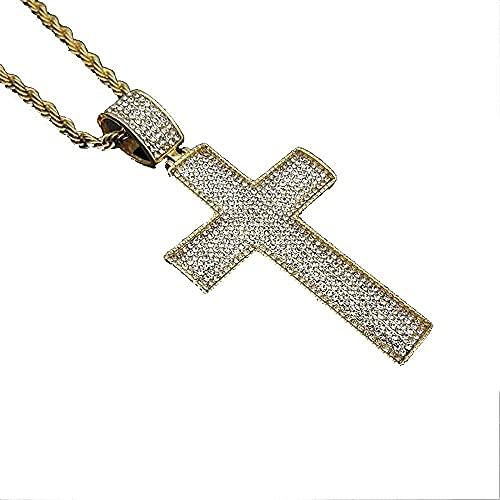 NC198 Collar con Colgante de Cruz Grande de Hip Hop, Collar de crucifijo de Diamantes de imitación Helado de Acero Inoxidable de Color Dorado Masculino para Hombre, joyería de 50 cm