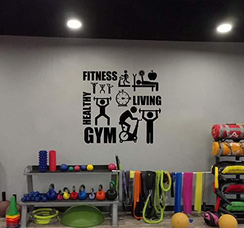 MASERTT Etiqueta de la pared del gimnasio Barbell Etiqueta de la aptitud Carteles de vinilo para culturismo Etiquetas de la pared de la motivación del entrenamiento del gimnasio 80cmx65cm