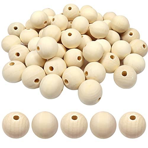 TOAOB 50 Piezas 25 mm Bolas de Madera Redondas con Agujero Grandes Abalorios Madera Natural Cuentas de Madera para Manualidades Joyería Decoraciones Macrame Artesanal Haciendo
