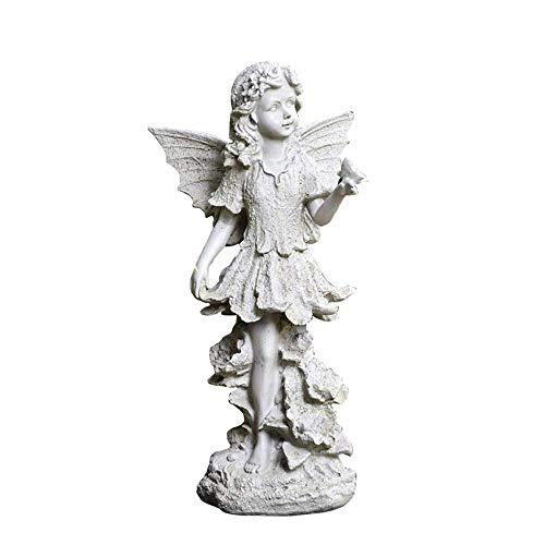 LIUSHI Estatua de jardín Resina de jardín Personaje de Dibujos Animados Escultura de ángel Decoración Artesanía Belleza Elfo Ángel con alas Decoración para el hogar Jardín Camino Césped para césped
