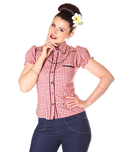 SugarShock Damen Western Bluse Melyn Country Gingham, Größe:L, Farbe:rot Weiss