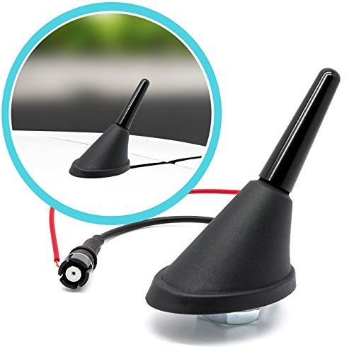 Adapter Universe Antena de varilla corta de 3 cm de techo + base de antena Raku 2 zócalo con amplificador de 16 V Set para universal – Auto Antena Radio
