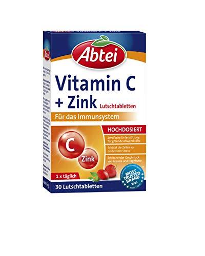 Abtei Vitamin C + Zink - wertvolles Vitaminpräparat zum Lutschen - zur Unterstützung der Abwehrkräfte und des Zellschutzes - glutenfrei, vegan - 1 x 30 Lutschtabletten
