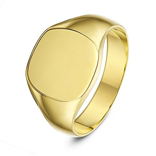 Theia 9 ct Yellow Gold, Cushion Shape, Heavy Weight Signet Ring - Size T