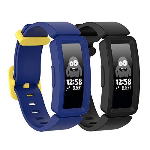 Koheby Armband kompatibel mit Fitbit Ace 2 für Kinder 6, [3-Pack] Weiches Silikon Sport Zubehör Jungen Mädchen Ersatz Armbänder Uhrenarmband Ersatzarmband für Fitbit Ace 2(Marineblau + Schwarz)