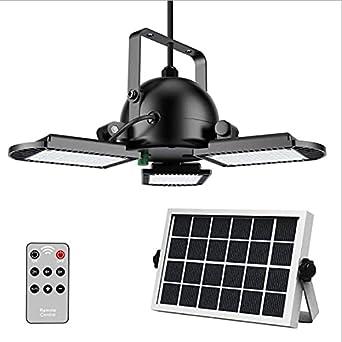 Lámpara solar de techo de 60 ledes, para exteriores, con mando a distancia, lámpara solar con cable de 16,4 pies para exterior e interior, caseta de jardín, pabellón, IP65 [clase energética A++]