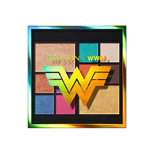 REVLON x WW84 The Wonder Woman Face & Eyeshadow Palette, 10 Bold Blendable Colors, Matte, Metallic and Pearl Finishes, 0.37 oz (7255254001)