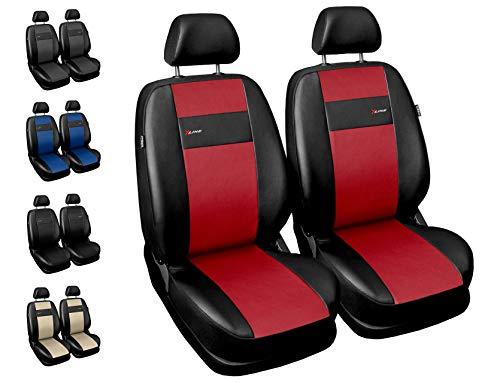 Carpendo Sitzbezüge Auto Vordersitze Autositzbezüge Schonbezüge Vorne - Seitenairbag geeignet - X-Line - Rot