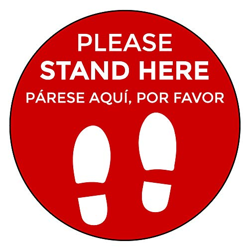 Social Distancing Floor Signs in English & Spanish - Pack of 10 Stickers - Red Stand Here Design - 12' Circle - Indoor/Outdoor - Aggressive Adhesive Vinyl - Online Labels