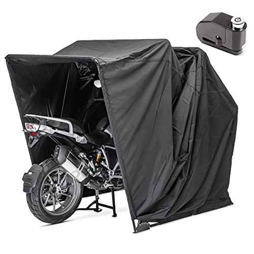 Garage pieghevole XXL Set + Blocca disco con allarme moto Motoguard universel