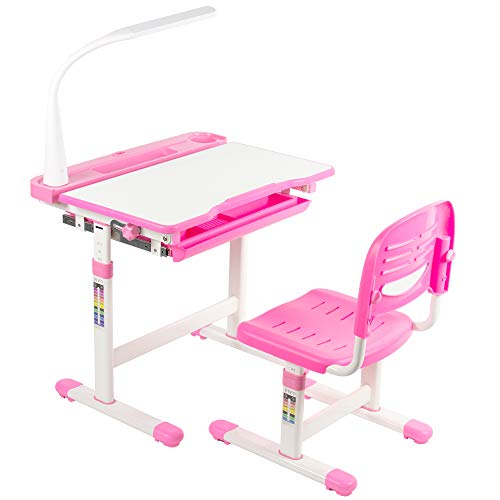VIVO Pink Height Adjustable Children's Desk and Chair | Kids Interactive Workstation with LED Lamp (DESK-V303P)