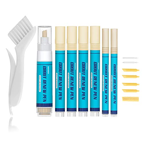 NADAMOO Grout Pen Beige Tile Grout Paint Pen, Renew Tile Grout Lines, Grout Restorer Touch Up Repair Marker, 1 Large Size & 4 Middle Size & 2 Small Size Touch Up Pens & 7 Replacement Tips & 1 Brush