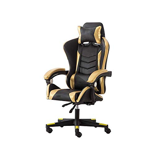 ZYLZL Chair Gaming Chair Office Home Massage Function Game Chair High Back Racing Chair Height Adjustable Ergonomic Office Chair With Headrest And Lumbar Support,Black Gold