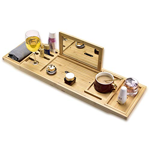 Luxury Retractable Bathtub Caddie Tray, Foldable Bamboo Bathtub Tray with Mirror Caddie, can Place Books and Integrated Tablet, Smartphone and Wine Glass - idea of Gifts for Loved Ones