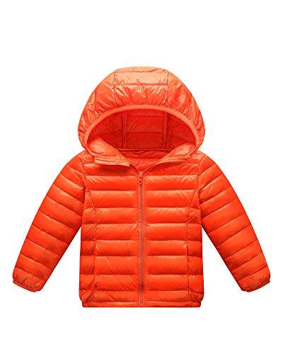 PengGeng Daunenjacke Kinder Mädchen Junge Ultraleichte Daunenmantel Leicht Outerwear Kapuzenjacke Orange 140