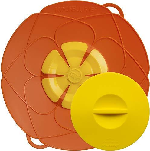 Kochblume - L'original de l'inventeur Armin Harecker L 29 cm orange, protection anti-débordement pour casseroles de Ø 14 à 24 cm, avec couvercle fraîcheur.