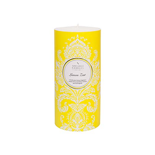 Shearer Candles Lemon Zest, Scented, Pillar Candle, Cotton Wick, Fragrance & Essential Oils, Yellow, Silver, White, Large
