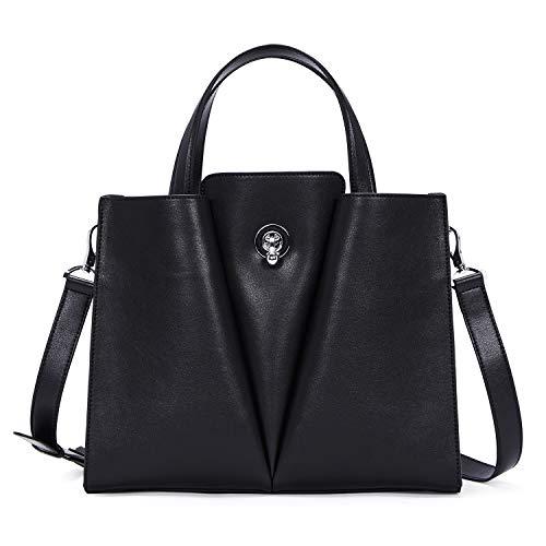 BOSTANTEN Damen Leder Handtasche Schultertasche Umhängetasche Elegante Henkeltasche Tote Bag Schwarz