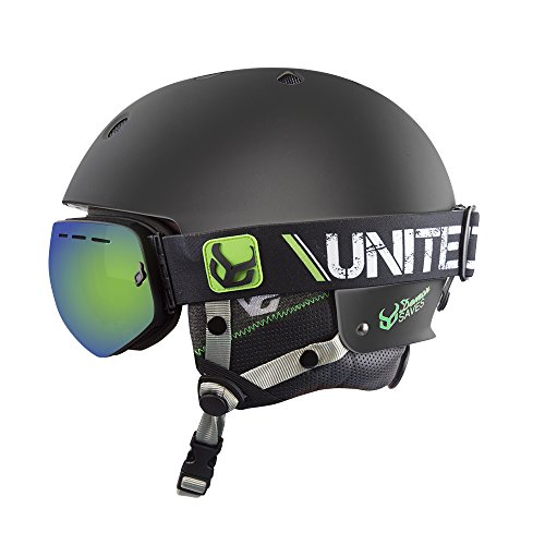 Demon Black Faktor Ski and Snowboarding Helmet with Audio and Goggle (Lrg/XL 56-59cm)