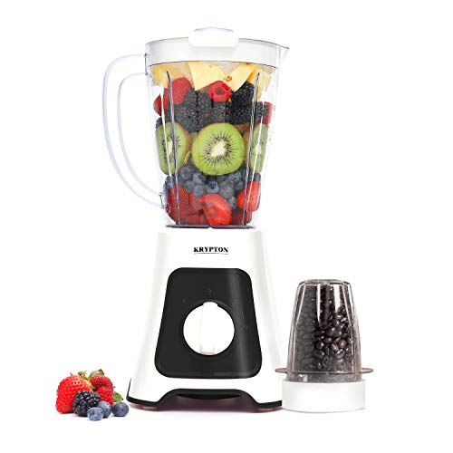 Krypton 400W 2 in 1 Food Jug Blender with 1.5L Jar - Stainless Steel Blades, 2 Speed Control with Pulse – Smoothie Blender with Coffee/Spice Grinder Mill & Chopper Included - 2 Year Warranty