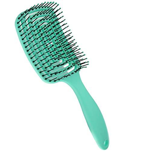 AODOOR cepillo orgánico para el cabello, cepillo de nailon para desenredar profesional con forma redonda elástica para cabello grueso/delgado/rizado, reducir el frizz masajear cuero cabelludo(