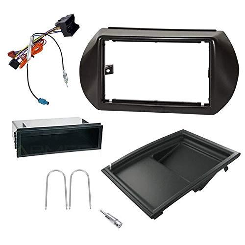 Sound Way - 1 DIN / 2 DIN Autoradio RadioRahmen RadioBlende einbauset für Citroen Nemo/FIAT Fiorino Qubo/Peugeot Bipper - KA.446.1