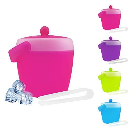 Eiswürfelbehälter mit Zange und Deckel - verschiedene Farben wählbar - Eiskübel - Eiseimer, Farbe:Pink