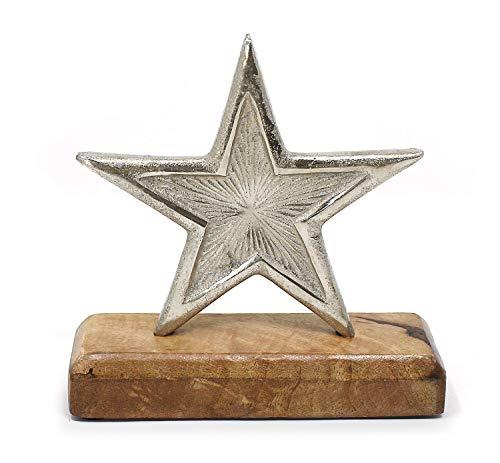 TEMPELWELT Deko Figur Stern Sternaufsteller 16 cm, Aluminium Metall Silber auf Holz Fuß Mangoholz, Winterstern Weihnachtsstern Sternfigur