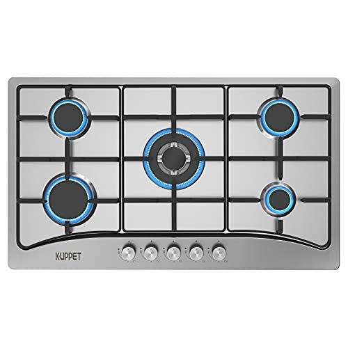 34 Inch Gas Stove CooktopGas Cooktop, QM5113 L Certified with 5 Italy Sabaf Sealed Burners, Stainless Steel Cooktop Gas Hob, NG/LPG Convertible ET