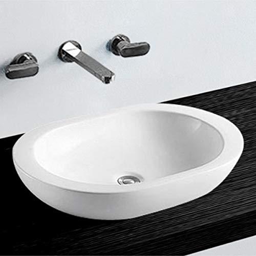 NEG Waschbecken Uno07A (oval/flach) Aufsatz-Waschschale/Waschtisch (weiß) mit breitem Rand und Nano-Beschichtung