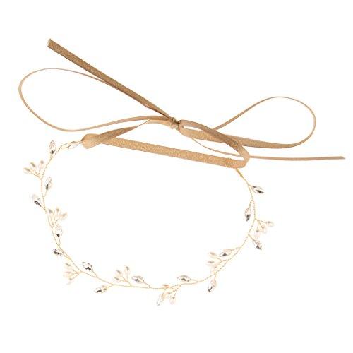 MagiDeal Gold Perlen Stirnband Strass Haarkranz Hochzeit Braut Haarschmuck