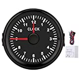 Akozon Round Hour Meter Gauge 2inch Universal Clock Gauge Instrument 0‑12 Hourmeter Red Backlight 12V/24V for Car Boat Yacht Motorcycle(#1)