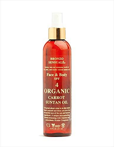 Bronzo Sensuale SPF 4 Reef Safe Sunscreen Deep Golden Tanning Organic Carrot Oil 8.5 Ounces