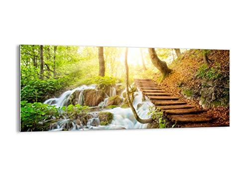Bilder auf glas - Park Wasserfall Wasser - 120x50cm - Glasbilder - Wandbilder - Kunstdruck - zum Aufhängen bereit - Wanddekoration aus Glas - Glas Bilder - Wandbild auf Glas - GAB120x50-3639