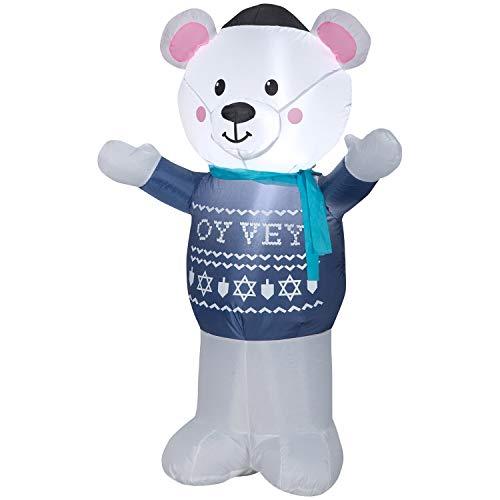Gemmy 4' Airblown Hanukkah Polar Bear Christmas Inflatable