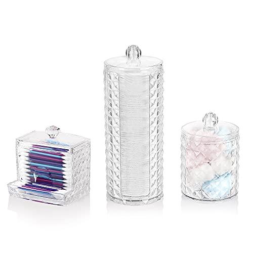 SALAROT Make-up-Organizer-Set, Wattepad Halter & Wattestäbchen Behälter und wattepadspender, Aufbewahrungsbox mit Deckel (Diamant)