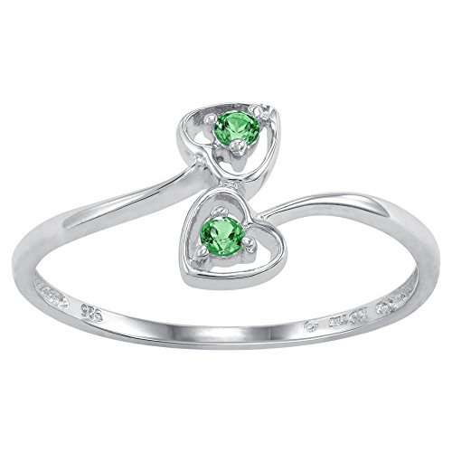 ArtCarved Dainty Heart Simulated Emerald May Birthstone Ring, Sterling Silver, Size 6