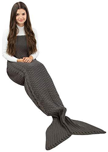 ZOLLNER Meerjungfrau Decke 60x180 cm, Einheitsgröße, grau, alle Jahreszeiten