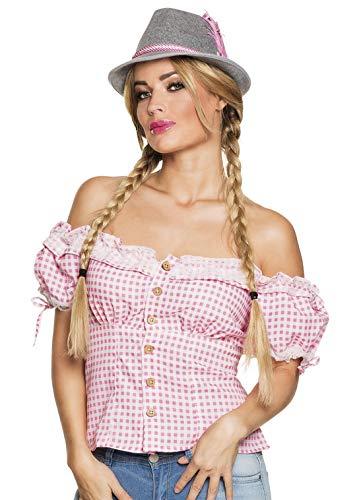 erdbeerclown - Damen Frauen Kostüm Schulterfreie rosa weiß Karierte Dirndl Bluse mit Pump-Ärmel, pink White Checkered Tirol Shirt, perfekt für Das Oktoberfest Karneval und Fasching, L, Pink