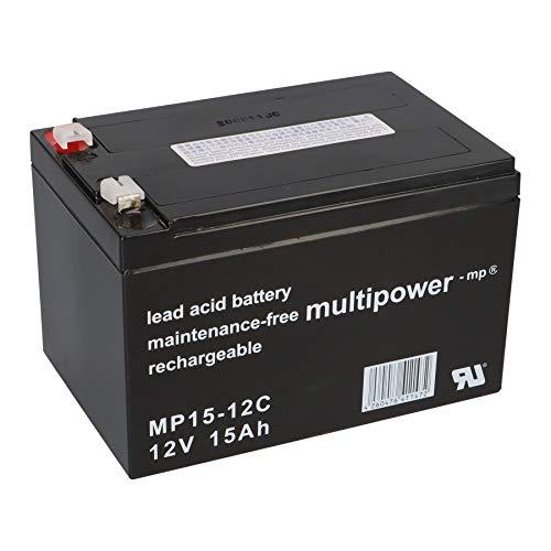 Multipower Batería de Plomo MP15-12C PB 12 V 15 Ah Ciclo Resistente Bicicleta Eléctrica Golf Caddy Scooter eléctrico ZYKLENTYP ✅