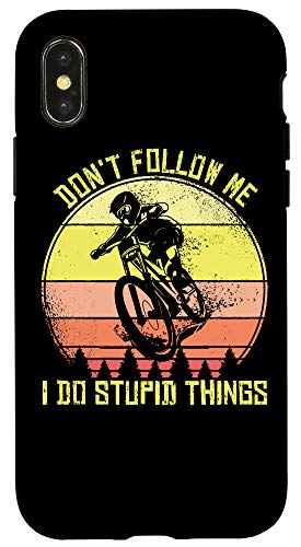 iPhone X/XS Mountain Bike Don't Follow Me I Do Stupid Things MTB Offroad Case