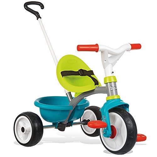 Smoby 740326 - Be Move blau - Kinderdreirad mit Schubstange, Sitz mit Sicherheitsgurt, Metallrahmen, Pedal-Freilauf, für Kinder ab 15 Monaten