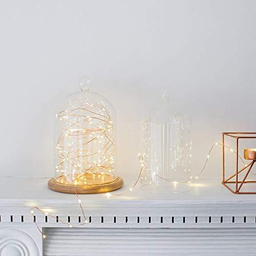 Vetrineinrete Filo di 100 micro led stringa 10 metri con cavo metallico flessibile a batteria catena di luci lucine per confettata presepe decorazioni natalizie 1344 (Luce bianco caldo) C1