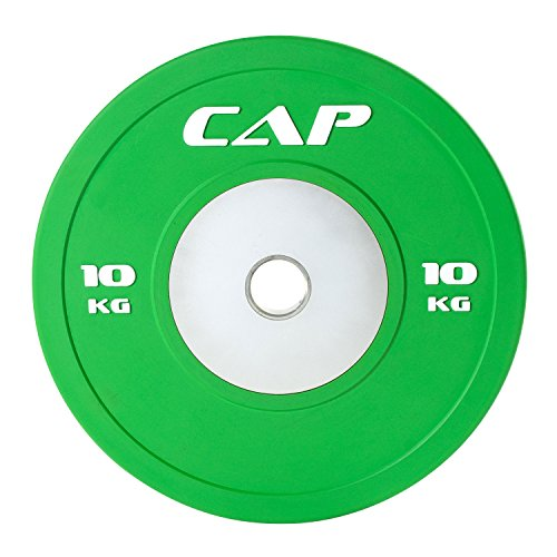 CAP Barbell Olympic Rubber Bumper Plate with Steel Hub 2' (Single), Green, 10 kg